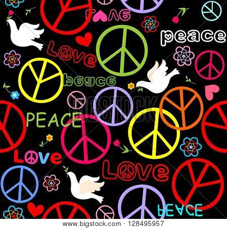Hippie wallpaper with peace symbol and doves