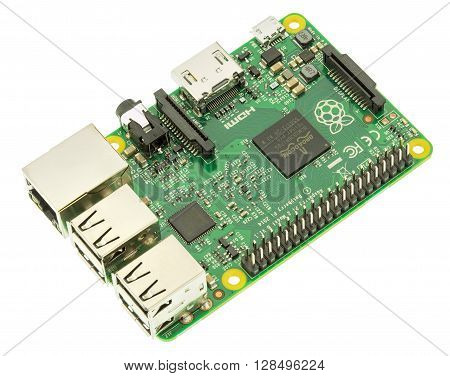 Wallisellen, Switzerland - 5 May, 2016: a Raspberry Pi 2 Model B board isolated on white background. The Raspberry Pi is a series of credit card-sized single-board computers developed by the Raspberry Pi Foundation.