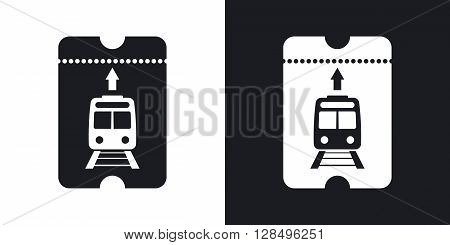Train ticket icon vector. Two-tone version on black and white background