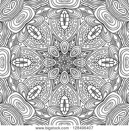 Elegant symmetry mandala for coloring. Sacred geometry.