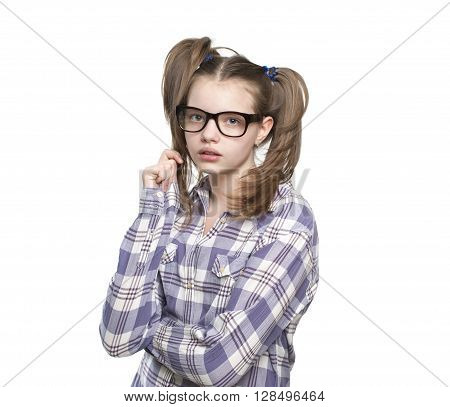 Portrait Of Teen Girl In A Plaid Shirt..