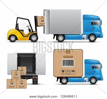 Shipment icons set with truck, boxes and forklift.