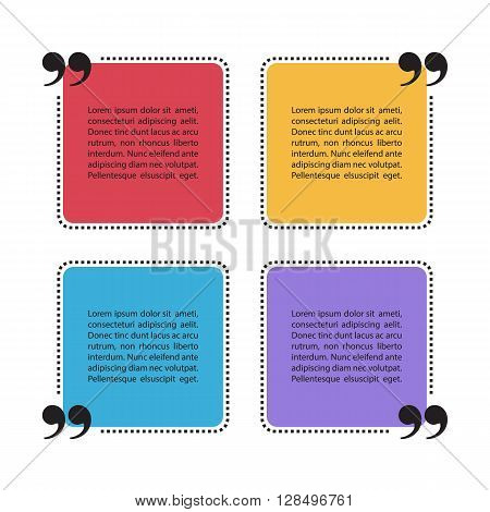 Set of color square dotted quote text bubbles. Quotation mark speech bubbles. Quote blank template. Quote bubble. Quote form. Vector illustration.