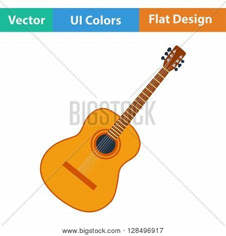 Flat Design Icon Of Acoustic Guitar