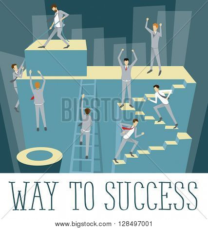 Vector flat business concept way to success