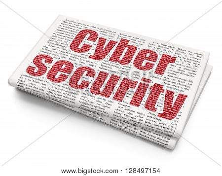 Security concept: Pixelated red text Cyber Security on Newspaper background, 3D rendering