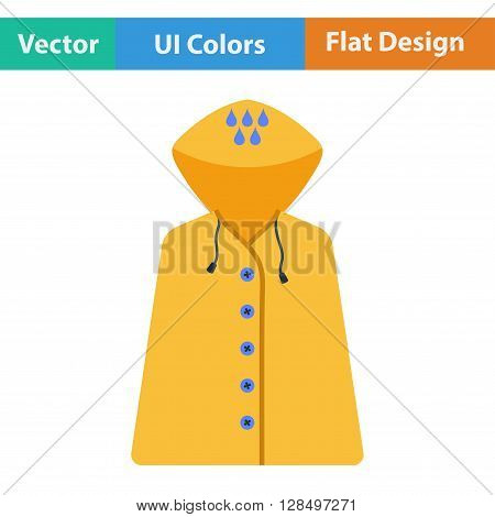 Flat Design Icon Of Raincoat