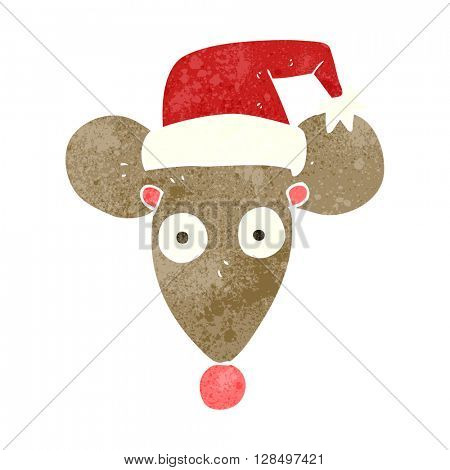 freehand retro cartoon mouse in christmas hat