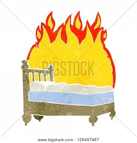 freehand retro cartoon beds are burning