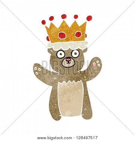 freehand retro cartoon teddy bear wearing crown
