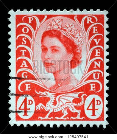 ZAGREB, CROATIA - SEPTEMBER 18: A Welsh Used Postage Stamp showing Portrait of Queen Elizabeth 2nd, circa 1958 to 1969, on September 18, 2014, Zagreb, Croatia