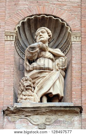 BOLOGNA, ITALY - JUNE 04: Saint Mark the Evangelist, Church of SS. Salvatore. Bologna. Emilia-Romagna. Italy, on June 04, 2015.