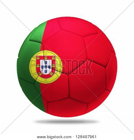 3D soccer ball with Portugal team flag isolated on white