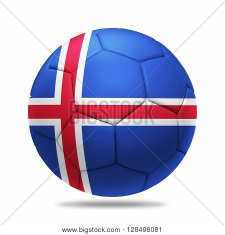 3D soccer ball with Iceland team flag isolated on white