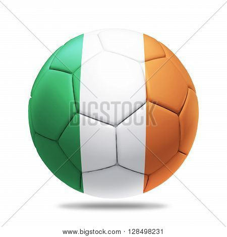 3D soccer ball with Ireland team flag isolated on white