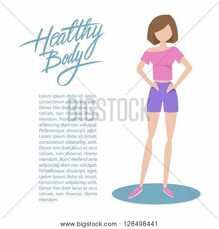 Sporty young woman in sportswear with handwritten inscription Healthy body. Healthy lifestyle concept. Flat style vector illustration.