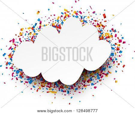 White festive background with color confetti. Vector illustration.