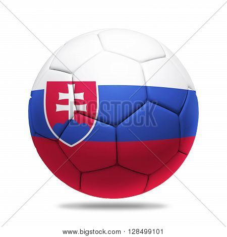 3D soccer ball with Slovakia team flag isolated on white