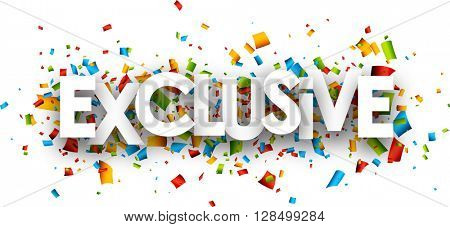 Exclusive paper banner with color confetti. Vector illustration.