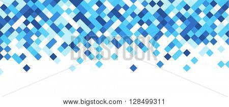 White abstract banner with blue rhombus. Vector illustration.