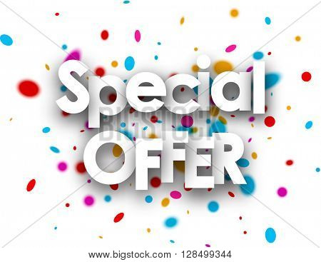 White special offer paper background with color drops. Vector illustration.