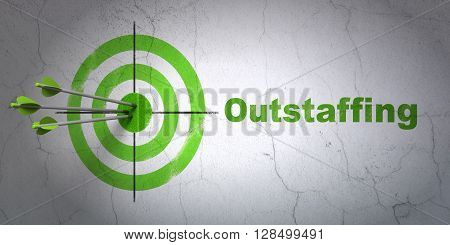 Success finance concept: arrows hitting the center of target, Green Outstaffing on wall background, 3D rendering