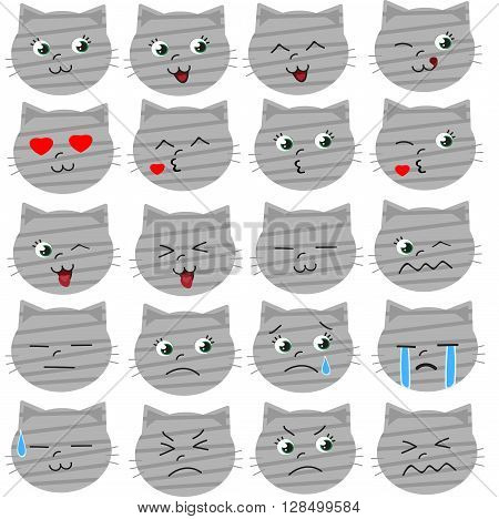 Set of tabby grey cat emoticons in cartoon style.