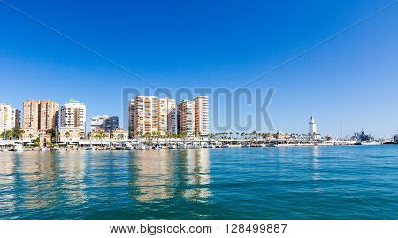 MALAGA, SPAIN - SEPTEMBER 4 2014: Enbankment in marina at summer