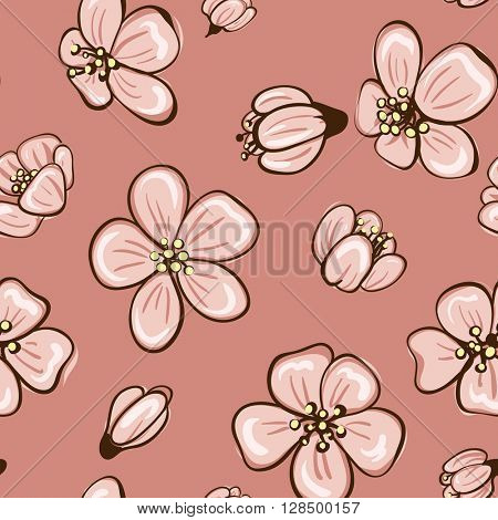 cherry blossom or sakura seamless pattern background
