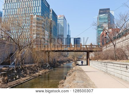 SEOUL SOUTH KOREA - MARCH 15 2016: Supyogyo bridge of Cheonggyecheon stream in Seoul Korea. Cheonggyecheon is 11 km long modern (since 2005) public recreation space in Seoul on the site of stream