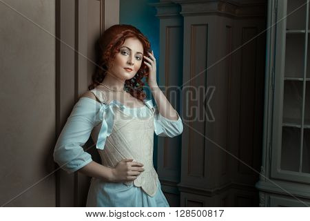 Girl in retro style, the style of the Renaissance.