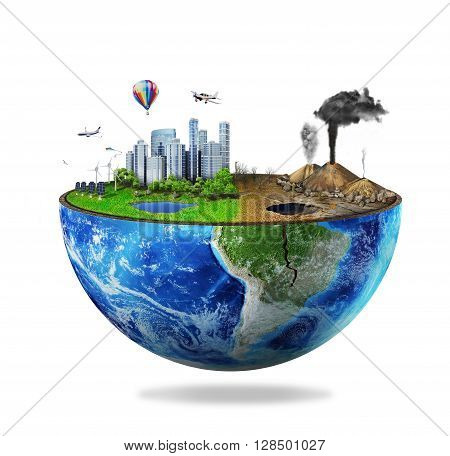 Eco concept. Half sphere of earth with light side and darker side isolated on white. One side is eco city different side is empty and dry ground with mountains.
