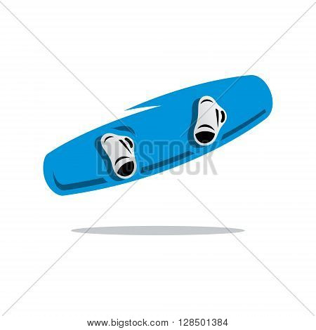 Blue Wakeboard with fixation for shoes Isolated on a White Background