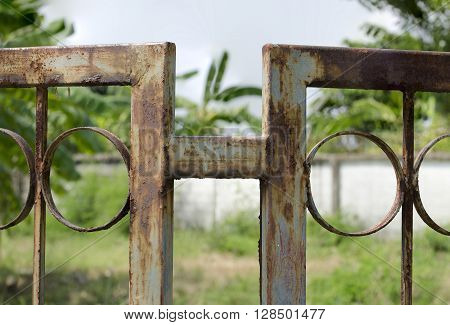 Green Metal fence become rusted through years of disregard.