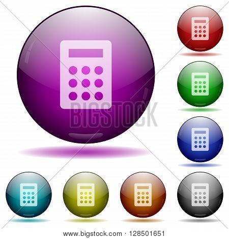 Set of color calculator glass sphere buttons with shadows.