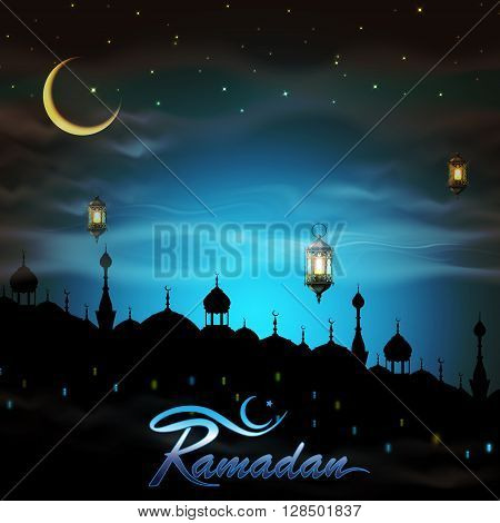Ramadan, greeting background with lanterns and night city.