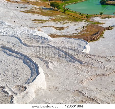 Asia The Old  Water Calcium Bath And Travertine Unique Abstract In Pamukkale Turkey