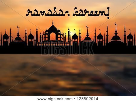 Card with mosques on sea sunset for congratulations with beginning of fasting month of Ramadan as well with Islamic holiday Eid al-Fitr and Eid al-Adha. Vector illustration