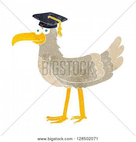 freehand retro cartoon seagull with graduate cap