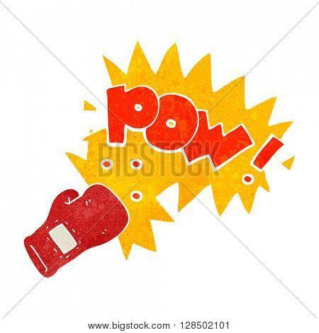 freehand retro cartoon boxing glove punch