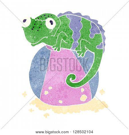 freehand retro cartoon chameleon on ball