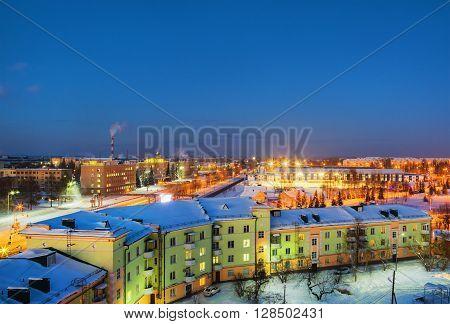 Top view of night city. Russia city of Nizhny Tagil