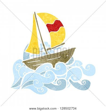 freehand retro cartoon sail ship