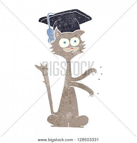 freehand retro cartoon cat scratching with graduation cap