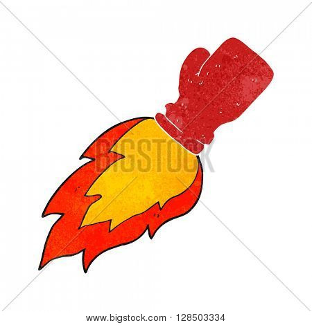 freehand retro cartoon boxing glove flaming punch