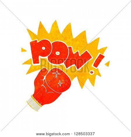 freehand retro cartoon boxing glove punching