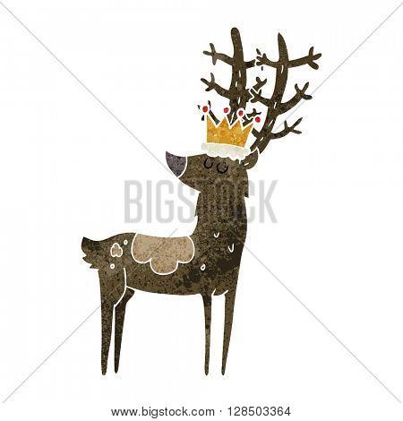 freehand retro cartoon stag king