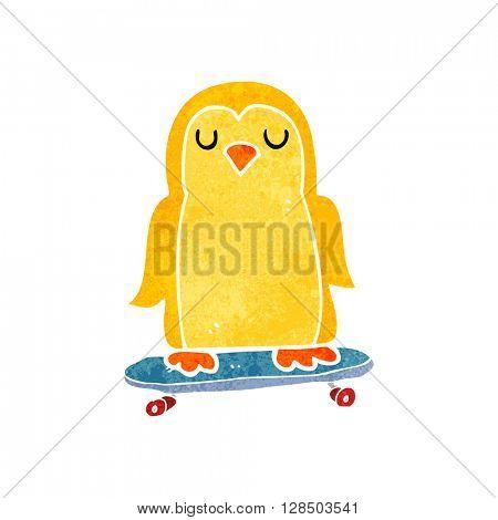 freehand retro cartoon bird on skateboard