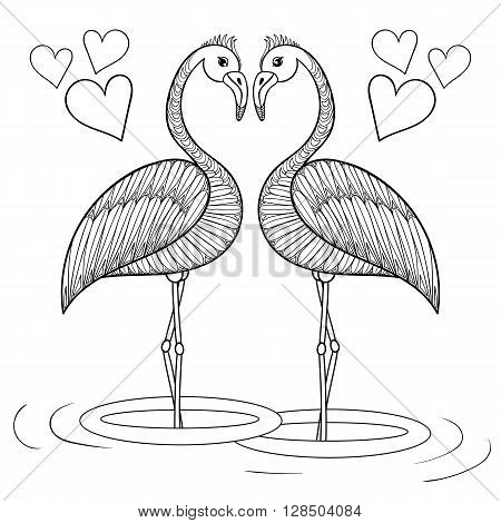 Coloring page with Flamingo birds in love, zentangle hand drawing illustartion tribal totem bird for adult Coloring books or tattoos, logo, postcard. Vector monochrome sketch of exotic bird.