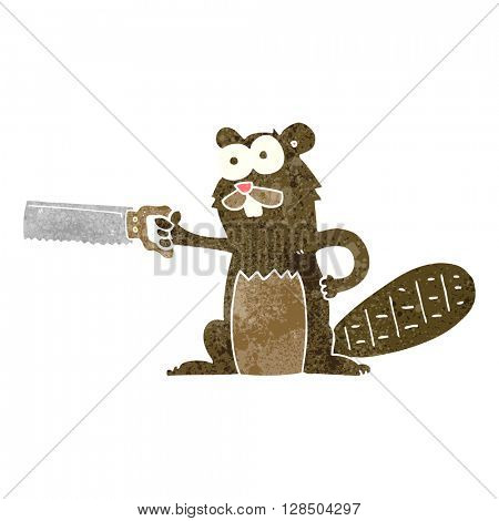 freehand retro cartoon beaver with saw